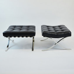 "Pair of Knoll Black Leather ""Barcelona Stool"" by Mies van der Rohe, C.1980's - Dimensions:L 25''  × W 22''  × H 16''"