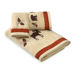 Bacova Guild, Ltd. - North Ridge Bath Towel - The embroidered scenes on these terry towels with faux suede trim will bring the beauty of the great outdoors right into your bathroom. Featuring a bear design, towels will add a fun, woodsy feel to any decor.