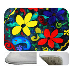 """usa - Retro Floral Bath Mat,  30"""" X 20"""" - Bath mats from my original art and designs. Super soft plush fabric with a non skid backing. Eco friendly water base dyes that will not fade or alter the texture of the fabric. Washable 100 % polyester and mold resistant. Great for the bath room or anywhere in the home. At 1/2 inch thick our mats are softer and more plush than the typical comfort mats. Your toes will love you."""