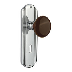 Nostalgic - Nostalgic Passage-Deco Plate-Brown Porcelain Knob-Bright Chrome (NW-710496) - The Deco Plate in bright chrome brings to mind old Hollywood, jazz, and The Great Gatsby, all of which inspire a modern twist on great classics from the past. Adding our rich, Brown Porcelain knob only serves to compliment the warm, earthen hues in your home. All Nostalgic Warehouse knobs are mounted on a solid (not plated) forged brass base for durability and beauty.
