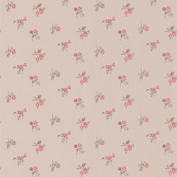 Graham and Brown - Rosebud Wallpaper - Taupe/Raspberry - Rosebud wallpaper - this small rose motif wallpaper adds a touch of elegance and style to any wall it adorns, and compliments the larger scale floral wallpapers perfectly.