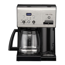 Cuisinart® Programmable 12 Cup Coffee Maker with Hot Water System - Cuisinart's programmable coffee maker satisfies the most discriminating coffee lover with pure coffee flavor, from one cup to a dozen — and now adds a hot water system for tea lovers, too. The state-of-the-art contemporary design combines a squared vertical shape and upscale, professional look with the latest brewing technology. Charcoal water filter keeps out calcium and chlorine, while the gold-tone filter locks in coffee flavor; carafe temperature control offers three heat settings. Hot water system operates independently, dispensing hot water on demand for tea, cocoa or soup. Removable drip tray allows plenty of room for taller travel mugs.