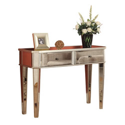 """Adarn Inc - New Stylish Mirrored Surface Wood Storage Accent Side Console Table with Drawers - The perfect addition to any home, this console provides ample storage space for most of your household needs. Featuring mirrored surfaces and """"silver"""" wood, this piece adds a stylish and glamorous touch to your home. Some assembly required. Accessories not included."""