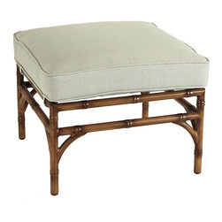 Ballard Designs - Galante Ottoman - Coordinates with Galante Dining & Lounge Collections. Spa Green box cushion included. Antique Chestnut finish. Resists rust, chipping & peeling. Replacement cushions available. Requires 1 replacement cushion per ottoman. Galante captures the inviting look of tropical rattan in virtually ageless, carefree aluminum. The Ottoman frame is cast of powder-coated aluminum to recreate the natural textures of hand carved rattan and then hand polished and protected with a baked-on, powder-coated finish. Galante Ottoman features:. . . . . Fully assembled . Use of an outdoor furniture cover is recommended to extend the life of your piece.