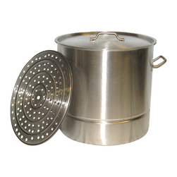 BALLINGTON - 80 Qt Large Stainless Steel Stock Pot Steamer Insert Rack, Riveted Handles - This 80qt stock pot is made of heavy duty 18/0 commercial quality stainless steel, with solid riveted stainless steel riveted handles for extra strength. This does also include a steamer insert rack with feet to hold heavier items. The steel is approximately 1.1 mm think.