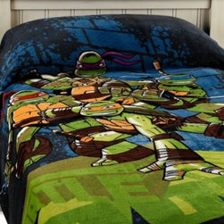 Jay Franco & Sons, Inc. - Teenage Mutant Ninja Turtles Dark Ninja Blanket - This soft and cuddly printed TMNT blanket is made from a luxurious coral fleece fabric and features an exciting Ninja Turtles theme. It's a great piece to make the comforter come together, and works standalone as a fun accent for your child's bedroom.