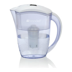 Brondell - H2O+ Water Filtration Pitcher, 6 Cup in White - Sleek, slim design fits perfectly in the fridge door. Easy pour handle and spill proof lid, quick-flip opening for refilling. Filter included, 2 month filter life. Choose H2O+ for better water. Imported.