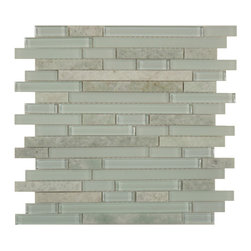 "Euro Glass - Green Opal Random Bricks Random Brick Series Glossy and Frosted Glass and Stone - Sheet size: 12"" x 12"""