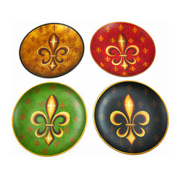 Zeckos - Set of 4 Fleur De Lis Decorative Ceramic Plates - This gorgeous set of 4 10 inch decorative ceramic plates has a Fleur de Lis design. Each plate has a different background color, with gold and brown fleur de lis symbols scattered about the plate, and a large fleur de lis in the center. NOTE: These plates are for decorative use only, and are not meant for food. They are perfect for rooms styled in a French motif.