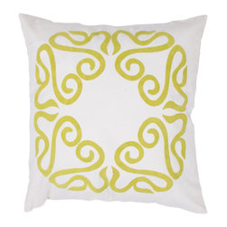 """Jaipur Rugs - Handmade Cotton Green/Ivory/White (18""""x18"""") Pillow - A fun , funky collection of pillows in 100% cotton, taking inspiration from suzani patterns which have been rescaled and updated .Colors mix black and white with vibrant brights of pink ,lime and lemon and use  a combination of flock print, applique and embroidery embellishment techniques"""