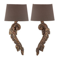 Aidan Gray - Chateau Elinor Sconces - Illuminate your favorite traditional setting with this pair of wall sconces. Leafy curves carved of wood and given a gold-flecked finish hoist simply elegant shades for an effect of classical grace.