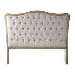 Zentique - Maison Tufted Aubergine Linen Headboard by Zentique, Natural, Queen - Natural oak frames this classily shaped headboard which has been updated with linen tufting for a soft welcoming look. Compliment this with neutral or colorful bed linens to reflect your personal style.