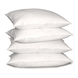 None - Optima-loft 233 Thread Count Jumbo-size Down Alternative Pillows (Set of 4) - With a loft and firmness optimal for back sleepers,these down-alternative pillows are an excellent option for allergy sufferers. Featuring a 100 percent cotton cover and synthetic-fiber fill,these will cradle your neck and head in comfort as you rest.