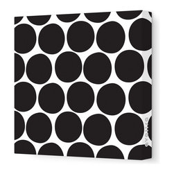 "Avalisa - Pattern - Dots Stretched Wall Art, 12"" x 12"", Black - What is it about polka dots? They're just circles, but en masse they make even the worst day a little better. Add some instant cheer to your wall with these dots in eye-popping colors. Each comes in your choice of sizes — or hang several together for some oom-pah-licious fun."
