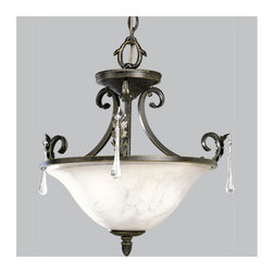 """Progress Lighting - Progress Lighting P3556 Veranda 20-1/2"""" Two-Light Semi-Flush Mount Ceiling Fixtu - In the Veranda collection, a rich Espresso finish highlights graceful curves, acanthus leaves and faux rock crystal drops for refined fixtures that make a grand statement. When lit, the subtle colors of Venetian marble glass cast a romantic glow, and the delicate detailing of the glass.Features:"""
