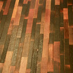 Wine Infusion Collection - This wood flooring is produced out of reclaimed wine barrels.  Its rich color comes from the natural staining that occurs on the inside of the barrel.