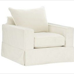"""PB Comfort Square Armchair, Knife-Edge Down-Blend Wrap Cushions, Twill White - Built by our exclusive master upholsterers in the heart of North Carolina, our PB Comfort Square Slipcovered Armchair is designed for unparalleled comfort with deep seats and three layers of padding. 37.5"""" w x 40"""" d x 37"""" h {{link path='pages/popups/PB-FG-Comfort-Square-Arm-4.html' class='popup' width='720' height='800'}}View the dimension diagram for more information{{/link}}. {{link path='pages/popups/PB-FG-Comfort-Square-Arm-6.html' class='popup' width='720' height='800'}}The fit & measuring guide should be read prior to placing your order{{/link}}. Choose polyester wrapped cushions for a tailored and neat look, or down-blend for a casual and relaxed look. Choice of knife-edged or box-style back cushions. Proudly made in America, {{link path='/stylehouse/videos/videos/pbq_v36_rel.html?cm_sp=Video_PIP-_-PBQUALITY-_-SUTTER_STREET' class='popup' width='950' height='300'}}view video{{/link}}. For shipping and return information, click on the shipping tab. When making your selection, see the Quick Ship and Special Order fabrics below. {{link path='pages/popups/PB-FG-Comfort-Square-Arm-7.html' class='popup' width='720' height='800'}} Additional fabrics not shown below can be seen here{{/link}}. Please call 1.888.779.5176 to place your order for these additional fabrics."""