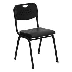 Flash Furniture - Hercules Series 880 Lb. Capacity Black Plastic Stack Chair - This stack chair is essential for classroom settings from high school to adult education. This chair also conforms to environments in the home for studying. This chair is available with a book rack so you can easily transform the room into a classroom or training room setting. The contoured seat with waterfall front will give you complete comfort and lasting durability.