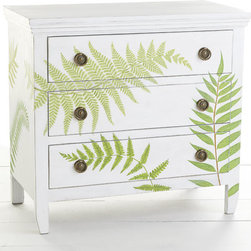 Botanical Chest - Give new life to your space with this handpainted fern chest. It's just the storage piece for rooms that need a little greenery. The shape is sleek and simple, allowing it to fit any style space you desire. The branches have intricate details reminiscent of old Victorian botanical art.
