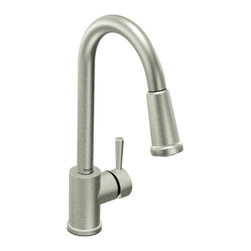 "Moen - Moen 7175CSL Level Single-Handle Pull-Out Kitchen Faucet (Stainless Steel) - Moen 7175CSL is part of the Level collection. Moen 7175CSL has a Classic Stainless finish. Moen 7175CSL is a new style Pull-Out Kitchen Faucet. Pullout spray includes 68? of braided hose, has Hydrolock quick connect installation and flexible supply lines with 3/8"" compression fittings. Moen 7175CSL mounts in a 1-hole sink, has a 7 7/8"" long and 15 15/32"" high arc spout, with a full 8 3/16"" from deck to aerator. Back flow consists of two independently operated check valves, primary and secondary. Moen 7175CSL single lever handle provides ease of operation. Moen 7175CSL operates in stream or spray mode in the pullout or retracted position, and has a pause feature that conveniently stops the flow of water as the wand passes over the counter top. Moen 7175CSL is part of the Level kitchen collection. The Level collection stands apart with its clean, geometric lines and sleek modern designs refining the modern style that seamlessly transcends into the homes decor. Classic Stainless has a Lifeshine finish guarantee from Moen and provides style and durability. Moen 7175CSL metal lever handles meets all requirements ofADA ASME A112.18.1/CSA B125.1 and NSF 61/9. Proposition 65 Lifetime Limited Warranty."