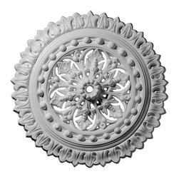"Ekena Millwork - 18 1/2""OD x 1 1/8""ID x 1 1/2""P Sellek Ceiling Medallion - Our ceiling medallion collections are modeled after original historical patterns and designs. Our artisans then hand carve an original piece. Being hand carved each piece is richly detailed with deep relief, sharp lines, and a truly unique touch. That master piece is then used to create a mould master. Once the mould master is created we use our high density urethane foam to form each medallion.  The finished look is a beautifully detailed, light weight, solid construction, focal piece. The resemblance to original plaster medallions is achieved only by using our high density urethane and not vacuum formed, ""plastic"" type medallions.  - Medallions can be cut using standard woodworking tools to add a hole for electrical or a ceiling fan canopy. - Medallions are light weight for easy installation. - They are fully primed and ready for your paint.  If you have any questions feel free to ask. These are in stock and available for immediate shipment."