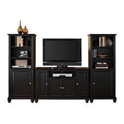 """Crosley - Cambridge 48"""" TV Stand and Two 60"""" Audio Piers in Black Finish - Our 48"""" TV stand and audio pier combination offers a unique solution for both display and storage. Extremely versatile, this combo features adjustable shelves allowing you to effortlessly organize by design. Two audio piers save space yet provide abundant storage options, while the TV stand offers a cord management system that tames the unsightly mess of tangled wires."""