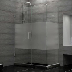 """Dreamline - Unidoor Plus 57""""Wx34-3/8""""Dx72""""H Hinged Shower Enclosure, Half Frosted Glass Door - The Unidoor Plus Shower Enclosure will impress with the fluid style of a completely frameless glass design. Premium thick tempered glass combined with high quality solid brass hardware deliver the rich look of custom glass at an incredible value. The glass has a fingerprint-free frosted band which adds an element of design and privacy. The Unidoor Plus Collection shines on your shower space with a streamlined design and elegant touches."""