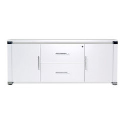 """Jesper - Jesper - 500 Collection - 71"""" Credenza - White Lacquer - Versatile and functional, this Collection complements nearly any contemporary office setting, bringing visual unity and calm. A simple set of elements can be combined in nearly limitless ways creating an advanced system that allows you to work individually or collectively. Versatile workstations can be designed in a variety of spaces and they offer the kind of technological integration needed in the modern workplace today."""