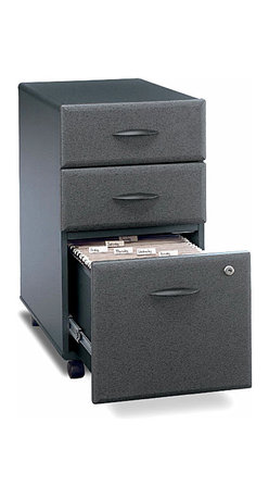 """Bush Business - Three-Drawer Rolling File Cabinet in Slate - Classically styled three-drawer file cabinets are a popular choice in a sleek slate finish.  Rolling case is ideal for shared administrative spaces and attractive for executive use or fully scaled modular workstations.  Conveniently designed with office supply storage and hanging folder access.  The attractive Series A Slate Three Drawer Mobile File features two box drawers and a capacious file drawer that open on full-extension slides for lasting durability.  Exclusive wheeled design makes moving your file cabinet a breeze. * Two box drawers hold small office supplies. File drawer opens on full-extension slides. One lock secures bottom two drawers. File drawer holds letter- or legal-size files. Casters for easy mobility when loaded. Fits under 36"""", 48"""", 60"""" and 72"""" Desks. 15.512 in. W x 20.276 in. D x 28.150 in. H"""