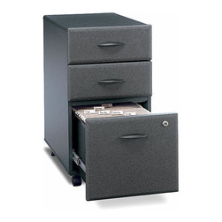 "Bush Business - Three-Drawer Rolling File Cabinet in Slate - Classically styled three-drawer file cabinets are a popular choice in a sleek slate finish.  Rolling case is ideal for shared administrative spaces and attractive for executive use or fully scaled modular workstations.  Conveniently designed with office supply storage and hanging folder access.  The attractive Series A Slate Three Drawer Mobile File features two box drawers and a capacious file drawer that open on full-extension slides for lasting durability.  Exclusive wheeled design makes moving your file cabinet a breeze. * Two box drawers hold small office supplies. File drawer opens on full-extension slides. One lock secures bottom two drawers. File drawer holds letter- or legal-size files. Casters for easy mobility when loaded. Fits under 36"", 48"", 60"" and 72"" Desks. 15.512 in. W x 20.276 in. D x 28.150 in. H"