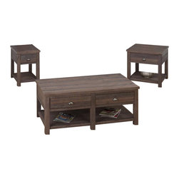 Jofran - Jofran 3 Piece Occasional Set in Falmouth Weathered Grey - Jofran - Coffee Table Sets - 53513760PKG - Jofran Coffee Table in Falmouth Weathered Grey