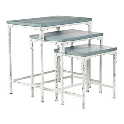 Safavieh - Safavieh Timmy Stacking Tables in Distressed Pale Blue and White - With their pale blue pine tops and white distressed metal bases, the Timmy stacking tables could easily be mistaken for vintage finds or family heirlooms. The vintage, distressed finish also complements cottage and shabby chic furnishings and when un-stacked, each provides the perfect surface for drinks and snacks when guests arrive. No assembly required. What's included: Stacking Tables (3).