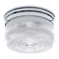 Livex Lighting - 1-Light Chrome Clear Glass Flush Mount Fixture - Brighten up any space with this one-light flush-mount fixture. This fixture combines frosted glass and chrome, creating an elegant design that's sure to stand out in any room. It requires one 60-watt bulb and displays light in multiple directions.
