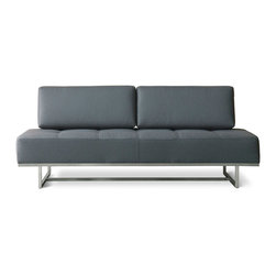 Gus Modern - James Lounge by Gus Modern - Menswear Griffin - This unique and versatile lounge has removable back cushions which allows the James to transform into a twin bed for overnight guests. The cushions attach to the stainless steel frame with velcro. Constructed with 100% FSC®-Certified Wood in support of responsible forest management.