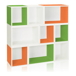 Way Basics - Arlington Modular Organizer, Green/Orange/White - The Oxford Modular Organizer is a unique combination of our Cubes, Cubes Plus and Rectangle Plus. This configuration will stylishly adorn any room as a statement piece, room divider, or bookshelf for your home or office.