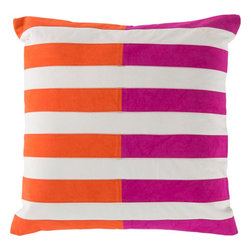 "Surya - Surya AR-133 Spellbound By Stripes Pillow, 22"" x 22"", Down Feather Filler - Multilayered and hypnotizing design will effortlessly redefine your space, fashioning a look that will surely shine in any home decor. With its marvelously multicolored, seemingly stripe design, this piece will offer a unique statement that emanates chic, charming trend. Genuinely faultless in aspects of construction and style, this piece embodies impeccable artistry while maintaining principles of affordability and durable design, making it the ideal accent for your decor."