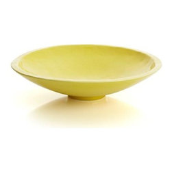 Chickadee Centerpiece Bowl - Add a citrusy zest to shelf or tabletop in a ceramic shaped with the artisan's touch, gently textured to bring out all the highlights of its lemon glaze. Gracious footed bowl has a bright, sunny look, great on its own or displaying fruit or decorative items.