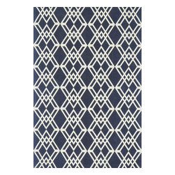 "Loloi Rugs - Loloi Rugs Felix Collection - Navy / Ivory, 7'-6"" x 9'-6"" - With bold patterns and fun color options, Felix is an ideal collection for any modern interior. These simple, geometricdesigns are printed in India onto an all-cotton surface, creating a look that's casual but still eye-catching."