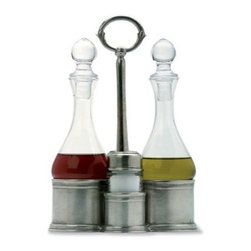 Match Pewter - Oil, Vinegar, Salt & Pepper Caddy by Match Pewter - In a world dominated by mass production, Match pewter is handmade by artisans in Northern Italy. Its classic forms harmonize with both traditional and modern settings, recalling celebrations at well laid tables. Each piece bears a stamped symbol from the region in which it was made.