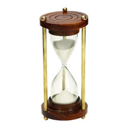 """Benzara - Wood Timer with Brown Wood Base and Brass Finish Rods - If you are looking for low cost but rare to find elsewhere decor item to refresh the decor appeal of short spaces on tables or shelves, beautifully carved 30676 WOOD TIMER may be a good choice.; Material: Well seasoned quality wood, Varnished to make it long lasting; Color: Brown wood base and brass finish rods; Unique table decor; Involving; Coordinating; Affordable option for customized gift; Dimensions: 7""""H x 3""""W"""