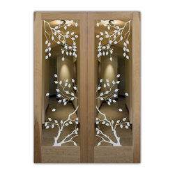 "Cherry Tree Door Positive - Whether it's front entry doors, or interior glass doors the first focal point of any home, business or office are the doors, and art glass doors by Sans Soucie add a unique element and a level of luxury while providing privacy AND light!   From a little to a lot, the privacy you need is created without sacrificing sunlight.  From simple frosted glass effects to our more extravagant 3D sculpture carving, painted and stained glass and everything in between, Sans Soucie designs are sandblasted different ways which create not only different effects but different levels in price.  The ""same design, done different"" - with no limit to design, there's something for every decor, regardless of style.  Price will vary by design complexity and type of effect:  Specialty Glass and Frosted Glass.  For complete descriptions of glass types and effects, click here.  Available any size, all glass is custom made to order and ships worldwide.  Door glass will be tempered and come in various thicknesses and types depending on door location (interior or exterior) and the effect selected.  Selling both the glass inserts for doors as well as door frames, Sans Soucie doors are available as an interior or entry door in 8 woods and 2 fiberglass, as a slab door or prehung in the jamb in any size.  Inside our incredibly fun, easy to use online Door Designer, you'll get instant pricing on everything as YOU customize your door and glass!  When you're all finished designing, you can place your order online!   We're here to answer any questions you have so please call (877) 331-339 to speak to a knowledgeable representative!   Doors ship worldwide at reasonable prices from Palm Desert, California with delivery time ranges between 3-8 weeks depending on door material and glass effect selected.  (Doug Fir or Fiberglass in Frosted Effects allow 3 weeks, Specialty Woods and Glass  [2D, 3D, Leaded] will require approx. 8 weeks)."