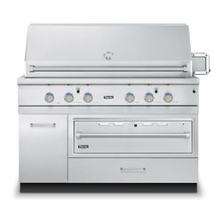 """Viking 54"""" Grill Base Cabinet With Warming Drawer Access, Stainless 