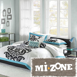 Mi-Zone - Mizone Santorini Teal 4-piece Comforter Set - This cozy four-piece comforter set is perfect for a girls bedroom. With its bold black leaf motif and teal border,this set brings unique style to any contemporary room. Complete the fabulous look with the included throw pillow and shams.
