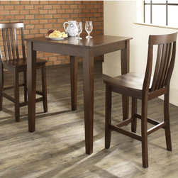 """Crosley - Three Piece Pub Dining Set with Tapered Leg Table and Barstools in Vintage Mahog - Features: -Set includes pub table and two barstools. -Hand rubbed multi-step vintage mahogany finish. -Constructed of solid hardwood and wood veneers. -School house style barstool with shaped back for comfort. -Table has tapered legs. -ISTA 3A certified. -Assembly required. -Manufacturer provides a 3 month warranty against defects in material and workmanship. Specifications: -Seat height: 24"""". -Barstool dimensions: 40"""" H x 18.5"""" W x 22.5"""" D. -Pub table dimensions: 36"""" H x 32"""" W x 32"""" D."""