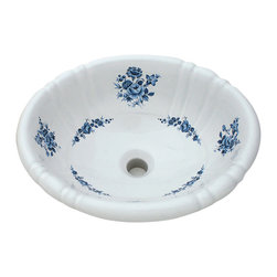 Decorated Porcelain Company - Blue Amaranth Hand Painted Sink - The perfect accent for a blue and white bath or powder room. Beautiful bouquets of roses and flowers in shades from light to dark blue on a white fluted drop-in basin. All of our fixtures are hand-made to order in the USA and kiln-fired for long-lasting durability.