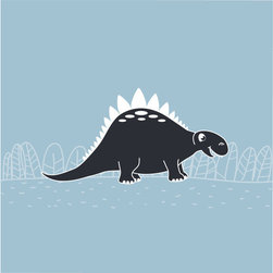 Homeworks Etc - Homeworks Etc Blue Dinosaur Canvas Wall Art, navy blue - Stegosaurus Dinosaur Kids Room Dcor for boys.  Fun navy and white silhouette with blue background.  Great for a baby shower or birthday gift.  It's light weight design is easy to hang.  Measures 10 x 10 x 1.5 inches.  Perfect for use in  a children's bedroom.