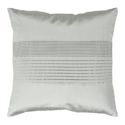 """Surya - Surya Tracks Decorative Pillow - Silver Sea Foam - HH028-1818D - Shop for Pillows from Hayneedle.com! About Surya RugsSince 1976 Surya has established itself as one of India's leading producers of fine hand-knotted hand-tufted and flat-woven rugs. Their products are sold in the U.S.A. at respected department and specialty stores. The company is known for its quality value dedication and innovation. This includes responsibility for the entire process - spinning dyeing weaving and finishing. Surya prides itself on using the best raw material available for the production of their rugs. They are proud members of """"Wools of New Zealand."""" From design concept through production a Surya family member is involved making sure that the highest standards are being met at each level. Surya works with top designers and constantly updates their designs and color palettes to match and set the trends in design and fashion for the home. Surya always means a fine choice in rugs."""