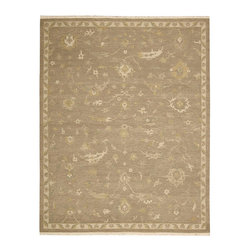 """Nourison - Nourison Nourmak Encore NOE14 8'6"""" x 11'6"""" Taupe Area Rug 10973 - A majestic taupe background sets the mood for this delicate floral design. Soft azure and hints of gold flutter across the color field. The subtle palette seems to glow with the patina of an antique textile."""
