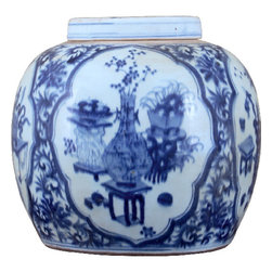 Oriental Danny - Blue and White porcelain lidded jar - Beautiful blue and white porcelain lidded jar, hand painted in garden scene.