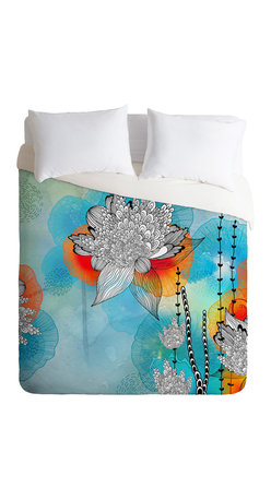 DENY Designs - Iveta Abolina Coral Queen Duvet Cover - Wake up on the bright side of the bed with this fun duvet cover. Made from soft woven polyester, it features stylized blooms and tendrils custom-printed in aqua, blue, tangerine, black and white. Pop in your favorite duvet, zip the hidden zipper and rest easy.